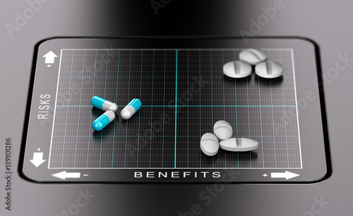 Fotografia  3D illustration of a benefits versus risks matrix with pills and tablets positioned on it