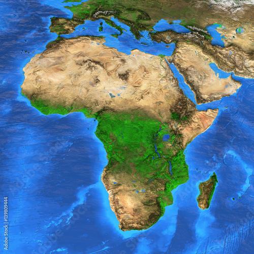 Mapa świata w wysokiej rozdzielczości skupiona na Afryce