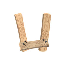 Letter U Wood Board Font. Plank And Nails Alphabet. Lettering Of Boards. Country Chipboard ABC