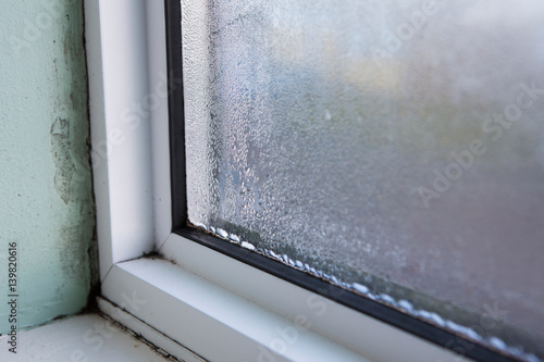 Vászonkép  House Window With Damp And Condensation