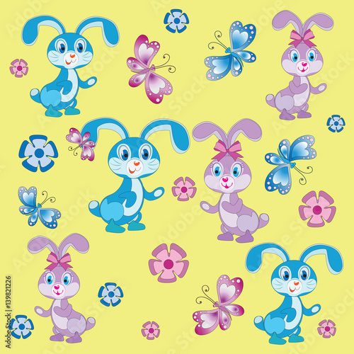 Funny Baby Rabbits Yellow Background Composition Pattern