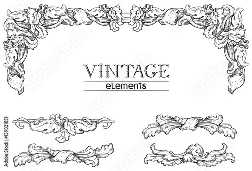 Valokuva  Vintage décor. Vector retro  elements  at old engraving style.