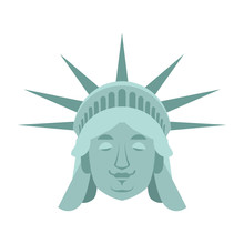 Statue Of Liberty Sleeping Emoji. US Landmark Statue Face Asleep Emotion Isolated