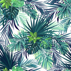 FototapetaSeamless hand drawn botanical exotic vector pattern with green palm leaves on dark background.
