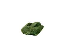 Green Jasper Stone Isolated On White Background Close-up. Macro Photography Of Cryptocrystalline Rocks.