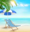 Beach with palm clouds sun umbrella and beach chair. Summer vaca