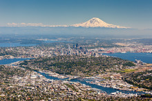 Seattle And Mount Rainier As Seen  From The Air On A Summer Day