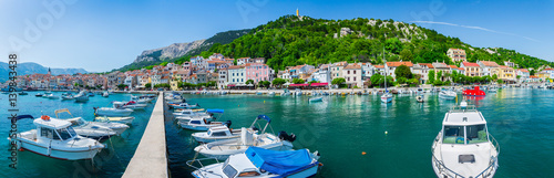 Printed kitchen splashbacks City on the water Wonderful romantic summer afternoon landscape panorama coastline Adriatic sea. Boats and yachts in harbor at cristal clear turquoise water. Baska on the island of Krk. Croatia. Europe.