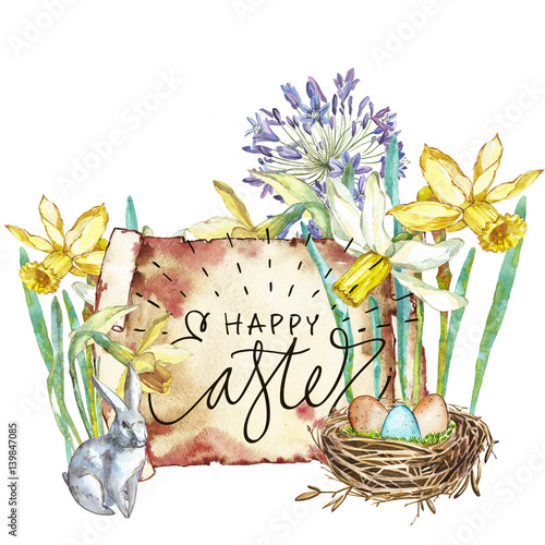 Fototapety, obrazy: Spring flowers narcissus. Isolated on white background. Watercolor hand drawn illustration. Easter design. Lettering - Happy Easter.