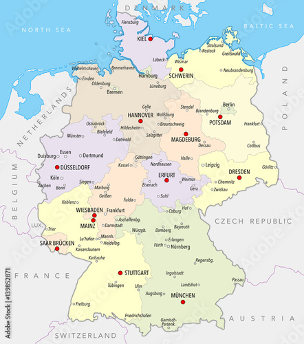 Map of Germany with cities and provinces in pastel colors – kaufen ...