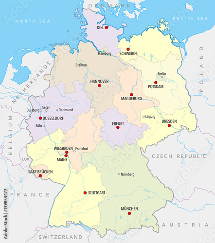 Map Of Germany With Rivers.Map Of Germany With Main Cities Provinces And Rivers In Pastel