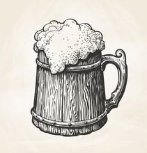 Hand-drawn Vintage Wooden Mug With Foam, Sketch. Drink, Beer, Ale Symbol. Vector Illustration For Design Menu Bar, Pub Or Restaurant