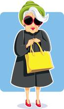 Senior Fashion Lady Holding Pu...