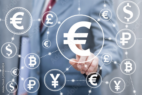 Euro Finance Stock Trading Exchange Concept Businessman Touched Eur Currency Icon On Virtual Financial Screen World Money Trade Market Technology