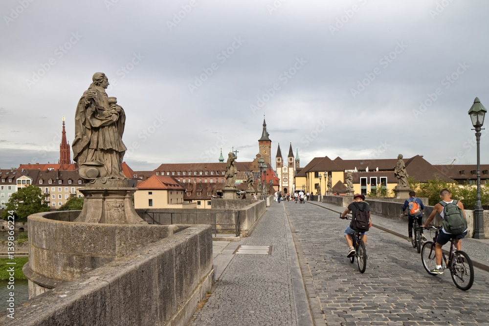 Würzburg, Germany - Cyclists on the way to the old town
