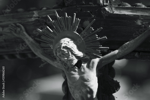 Holy cross with crucified Jesus Christ Плакат