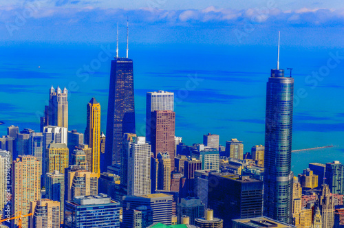 Photo  overview of chicago city in the state of Illinois