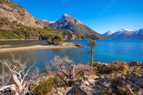 Photo Stands Salmon Bariloche landscape in Argentina