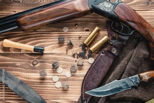 Photo Set of  hunting equipment on desk
