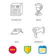 Dishwasher, hairdryer and mixer icons. Iron linear sign. Shield protection, calendar and new tag web icons. Vector