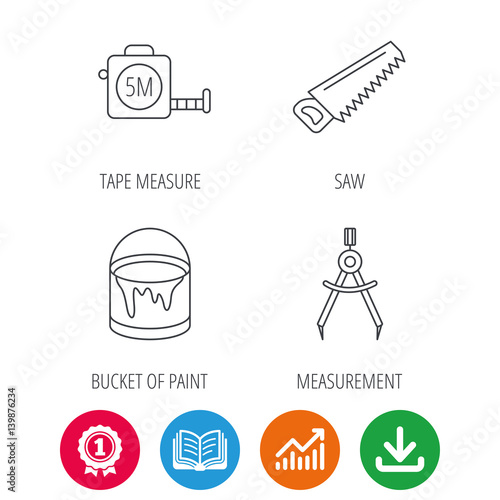 Pleasant Tape Measure Saw And Bucket Of Paint Icons Measurement Linear Sign Wiring Digital Resources Remcakbiperorg