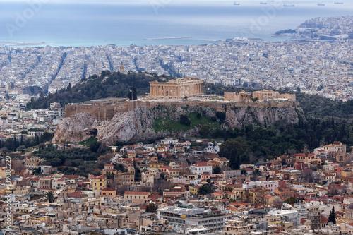 Plakat Zadziwiający widok akropol Ateny od Lycabettus wzgórza, Attica, Grecja