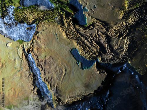Photo  Arab Peninsula on Earth at night - visible ocean floor