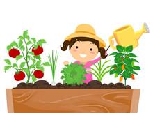 Stickman Kid Girl Garden