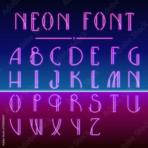 Neon linear font with 80s New Retro Wave trendy hipster style - Buy