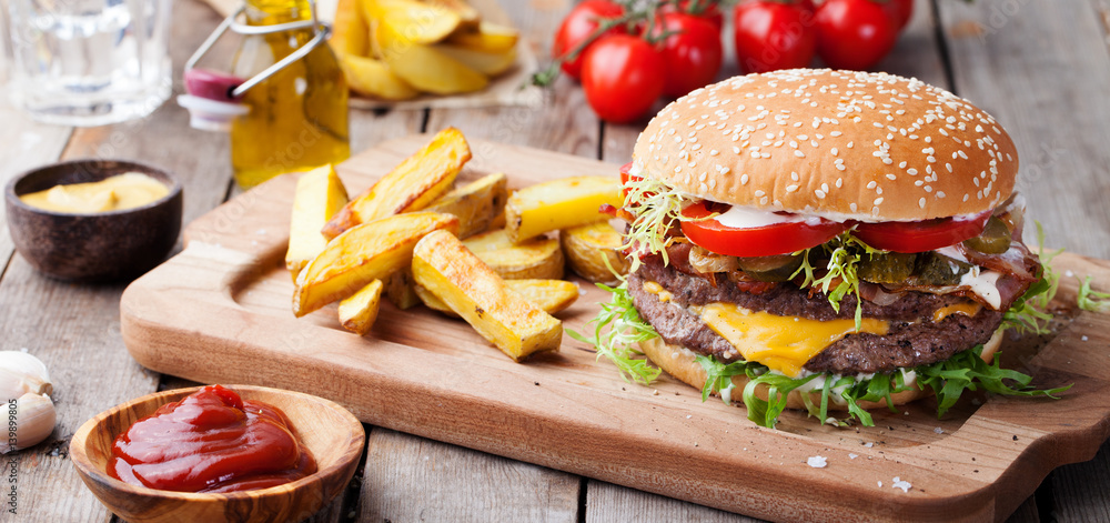 Fototapety, obrazy: Burger, hamburger with french fries Cutting board.