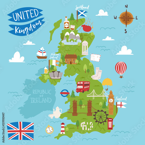Cuadros en Lienzo United kingdom great britain map travel city tourism transportation on blue ocean europe cartography and national landmark england famous flag vector illustration