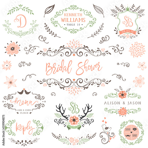 Photo Hand drawn rustic Bridal Shower and Wedding collection with typographic design elements