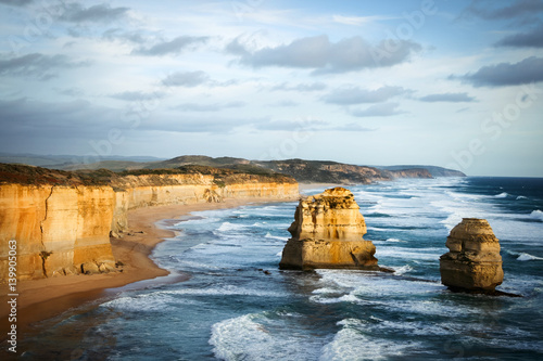 Spoed Foto op Canvas Noordzee 12 Apostel bei Sonnenuntergang, Great Ocean Road, Australien