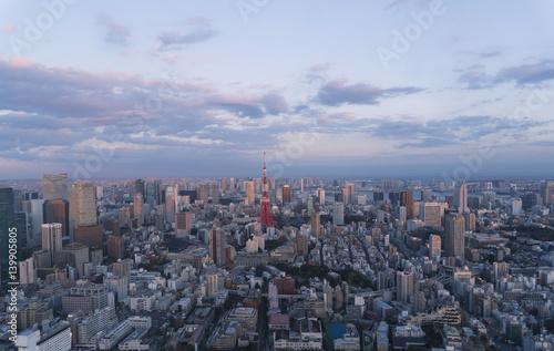Poster Tokyo 東京都市風景 夕暮れ 東京タワーと都心の街並 浜松町 晴海 汐留 豊洲