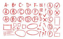 Hand Drawn Grade Results, Check Marks Set Of Icons. School, Education, Business Symbol. Exam, Examination, Test Vector Illustration