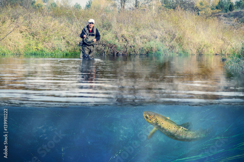 Printed kitchen splashbacks Fishing Fishing. Fisherman and brown trout, underwater view