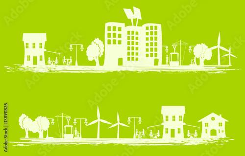 Papiers peints Vert chaux ville écologique dessin