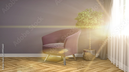 Fototapety, obrazy: interior with chair. 3d illustration