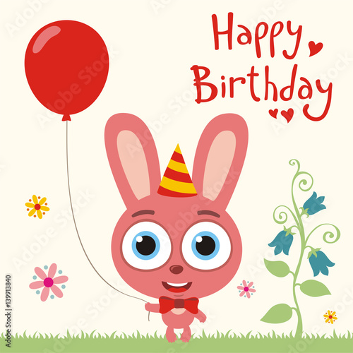 Happy Birthday To You Funny Bunny Rabbit With Red Balloon Card In Cartoon Style
