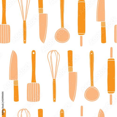 kitchen utensils background blue kitchen tools seamless pattern cooking raster utensils background