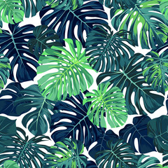 Panel Szklany Drzewa Green vector pattern with monstera palm leaves on dark background. Seamless summer tropical fabric design.