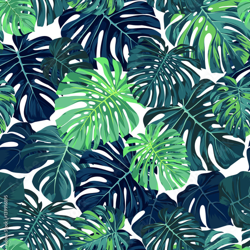 Fototapeta Green vector pattern with monstera palm leaves on dark background. Seamless summer tropical fabric design. obraz na płótnie