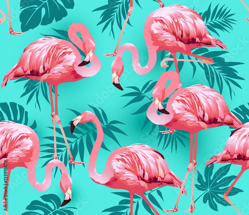 Flamingo Bird and Tropical Flowers Background - Seamless pattern vector  © Angelina Bambina