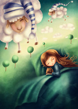 Little Girl And сounting Sheep