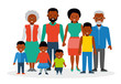 A big happy family. African Americans. Grandfather, grandmother, parents, mother and father, the three sons of different ages and daughter. Flat style illustration.