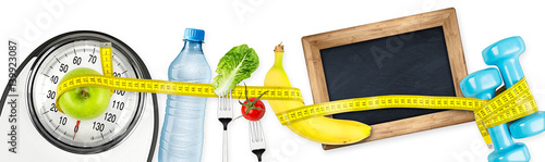 Photo measuring tape  water bottle green apple banana dumbbell and empty slate  blackb