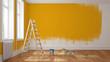 Leinwanddruck Bild - Wand mit gelber Farbe streichen bei Renovierung