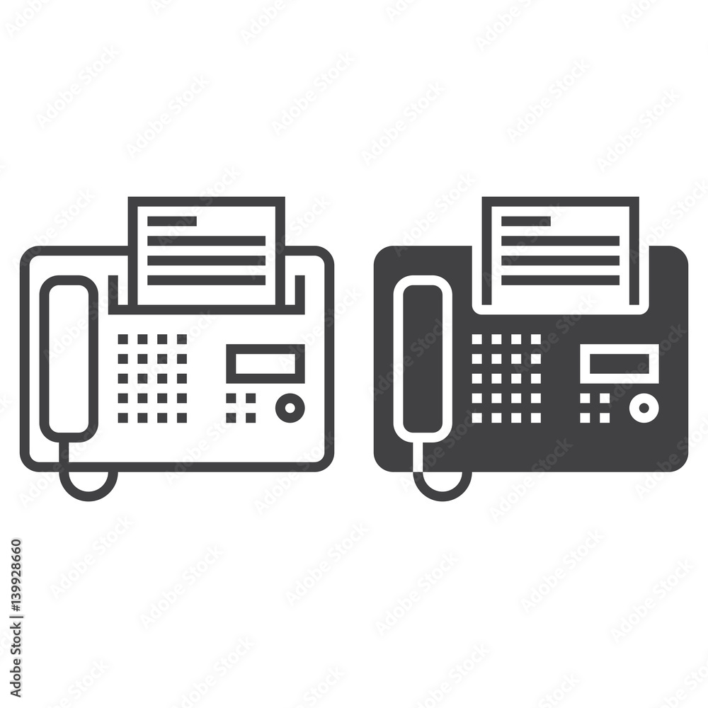 Fototapety, obrazy: Fax line icon, telefax outline and filled vector sign, linear and full pictogram isolated on white, logo illustration