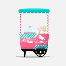 Cotton Candy Cart, Kiosk On Wh...