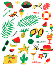 Set With Summer Beach Objects. Vector Illustration With Umbrella, Chair, Cocktails, Fruits,